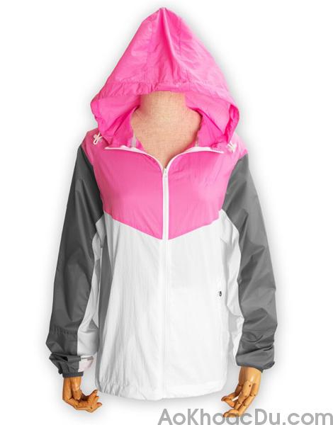 Áo Khoác Nike Nữ Vải Dù 1 Lớp Màu Hồng