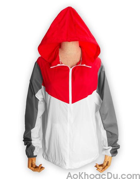 Áo Khoác Nike Nữ Vải Dù 1 Lớp Màu Đỏ